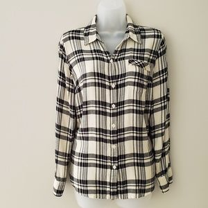 EUC Lucky Brand Ivory and Black Plaid Flannel